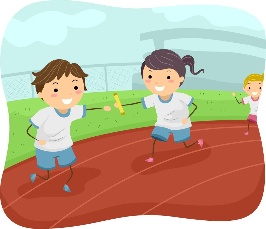 35168863 - illustration of kids participating in a relay race